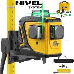 Laser krzyżowy Nivel System CL3DG 360 stopni ZIELONY z Tyczką rozporową LP-33 3,3m