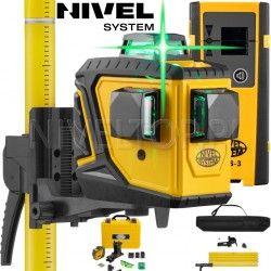 Laser krzyżowy Nivel System CL3DG 360 stopni ZIELONY z Tyczką rozporową LP-33 3,3m i Detektorem CLS3