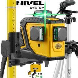 Laser krzyżowy Nivel System CL3DG 360 stopni ZIELONY ze Statywem kolumnowym SJJ-M1 EX 180 cm i Tyczką LP33