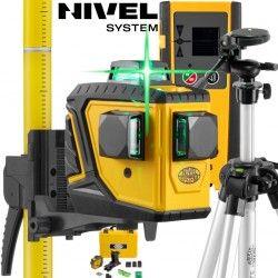 Laser krzyżowy Nivel System CL3DG 360 stopni ZIELONY ze Statywem SJJ-M1 EX Tyczką LP33 i Czujnikiem CLS3