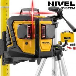 Zestaw laser krzyżowy Nivel System CL3D -360 stopni ze statywem z wysięgnikiem SJJ-M1 EX i tyczką rozporową LP-33 3,3m