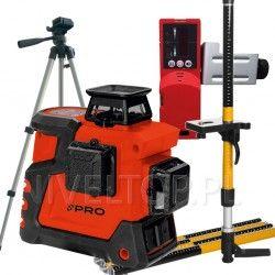 PRO LK-360.3D Czerwony laser płaszczyznowy + Statyw TR-420F + Tyczka LT334S-2G + DWL-02
