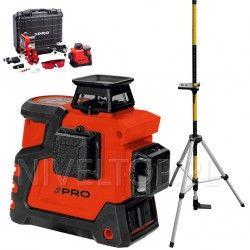 PRO LK-360.3D Czerwony laser płaszczyznowy  + Tyczka LT-334S-2GT ze statywem