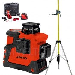 PRO LK-360.3D Czerwony laser płaszczyznowy  + Tyczka rozporowa 3,65m ze stojakiem
