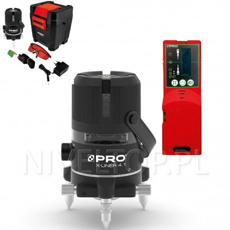 PRO X-LINER 4.1 laser krzyżowy (wiązka czerwona) + Czujnik PRO DWL-02